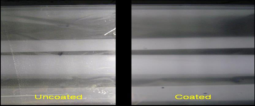 Figure 6: Back-lit metallized films with & without in-line top-coating